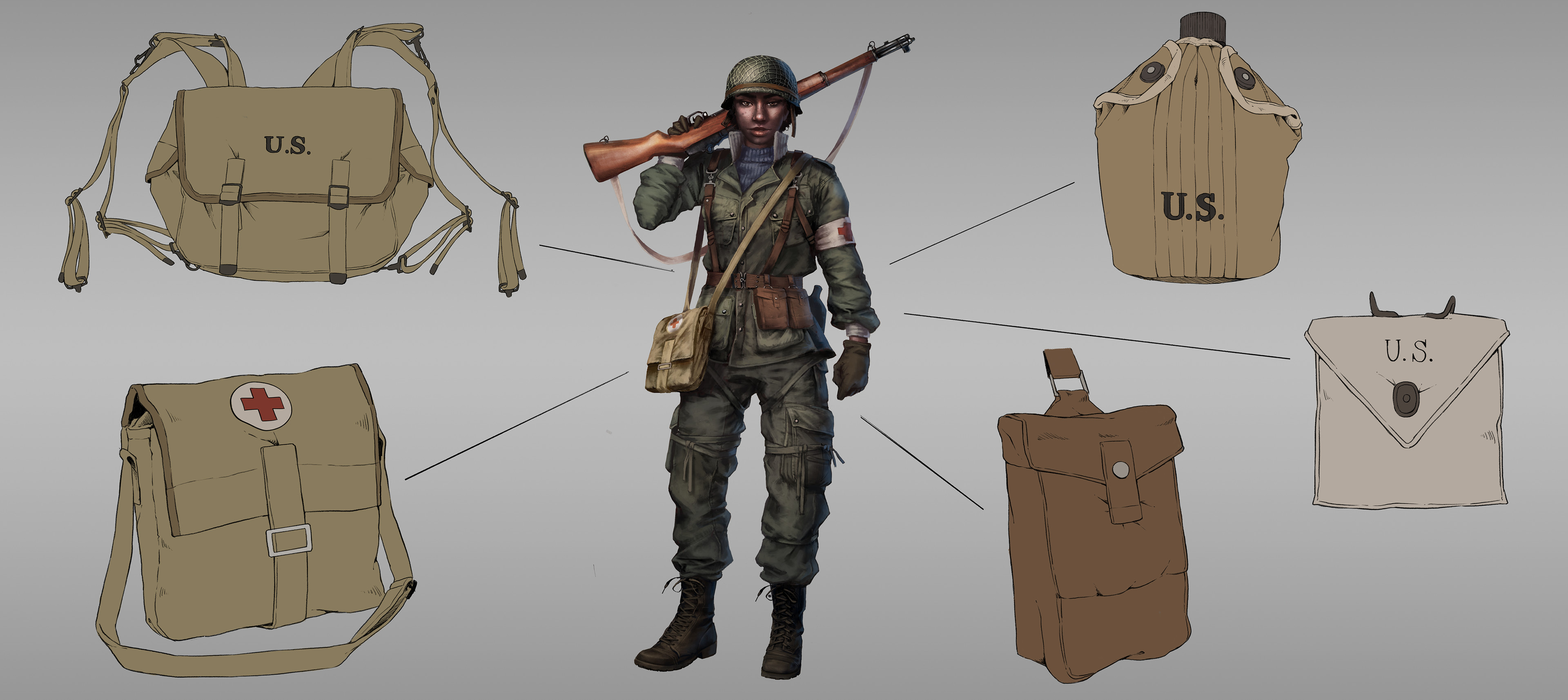 U.S.A details design breakdown. Being a medic I wanted to focus on giving her more utility equipment rather than offensive, since medics tend to fall under the support class.