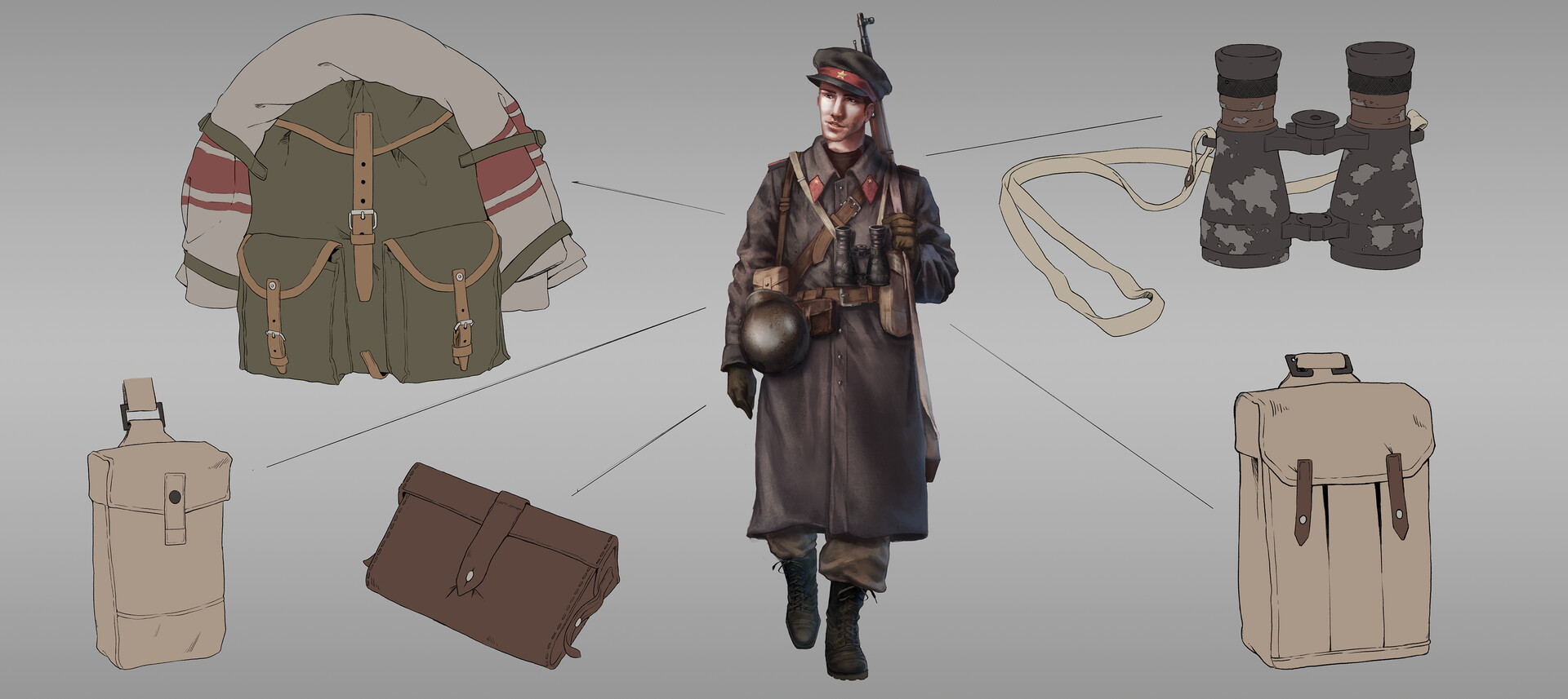 Soviet/USSR details design breakdown. For this one I wanted to have a more offensive solider in mind, but still give him a lot of utility equipment.
