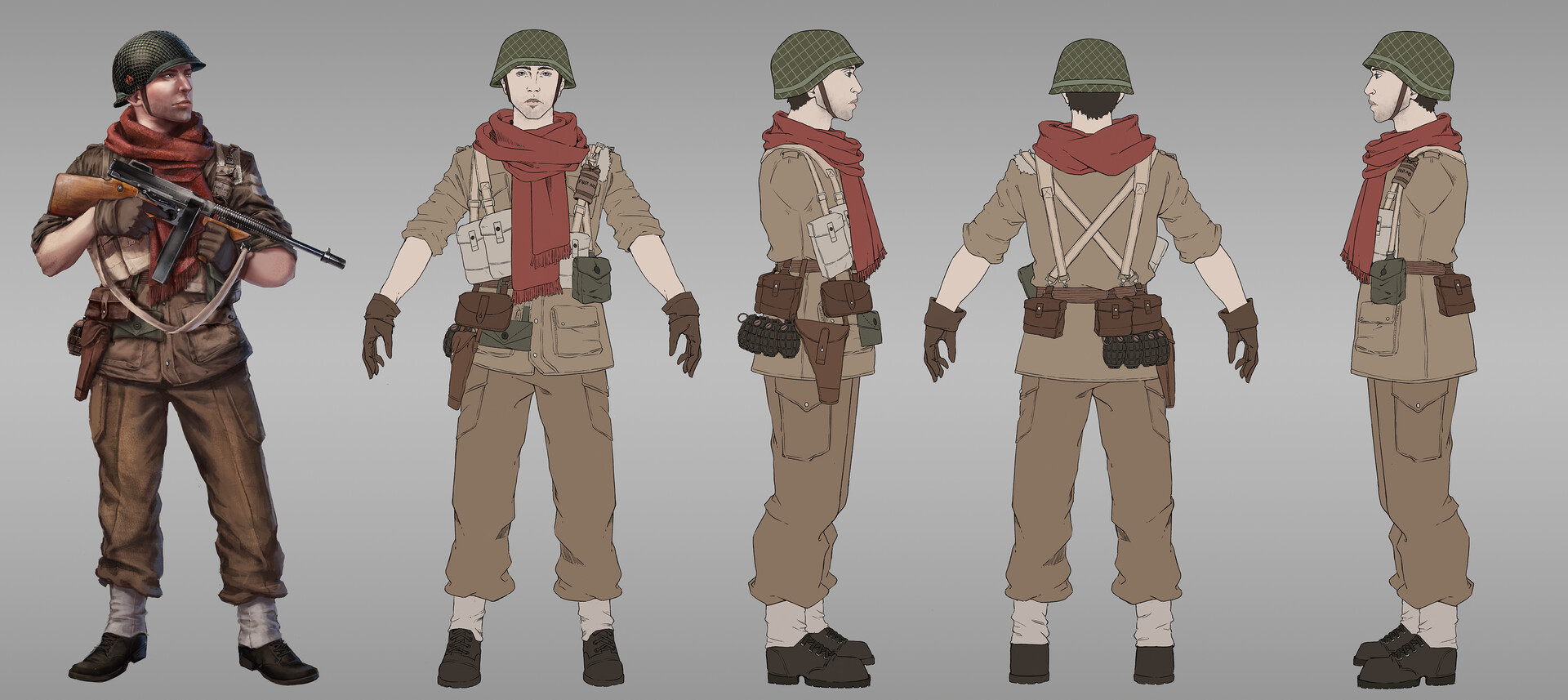 "Britain character design breakdown.  My first priority with this one was to spice up the all so famous ""boring and very beige"" Britain uniform haha! Adding a scarf did a lot for the deisgn."