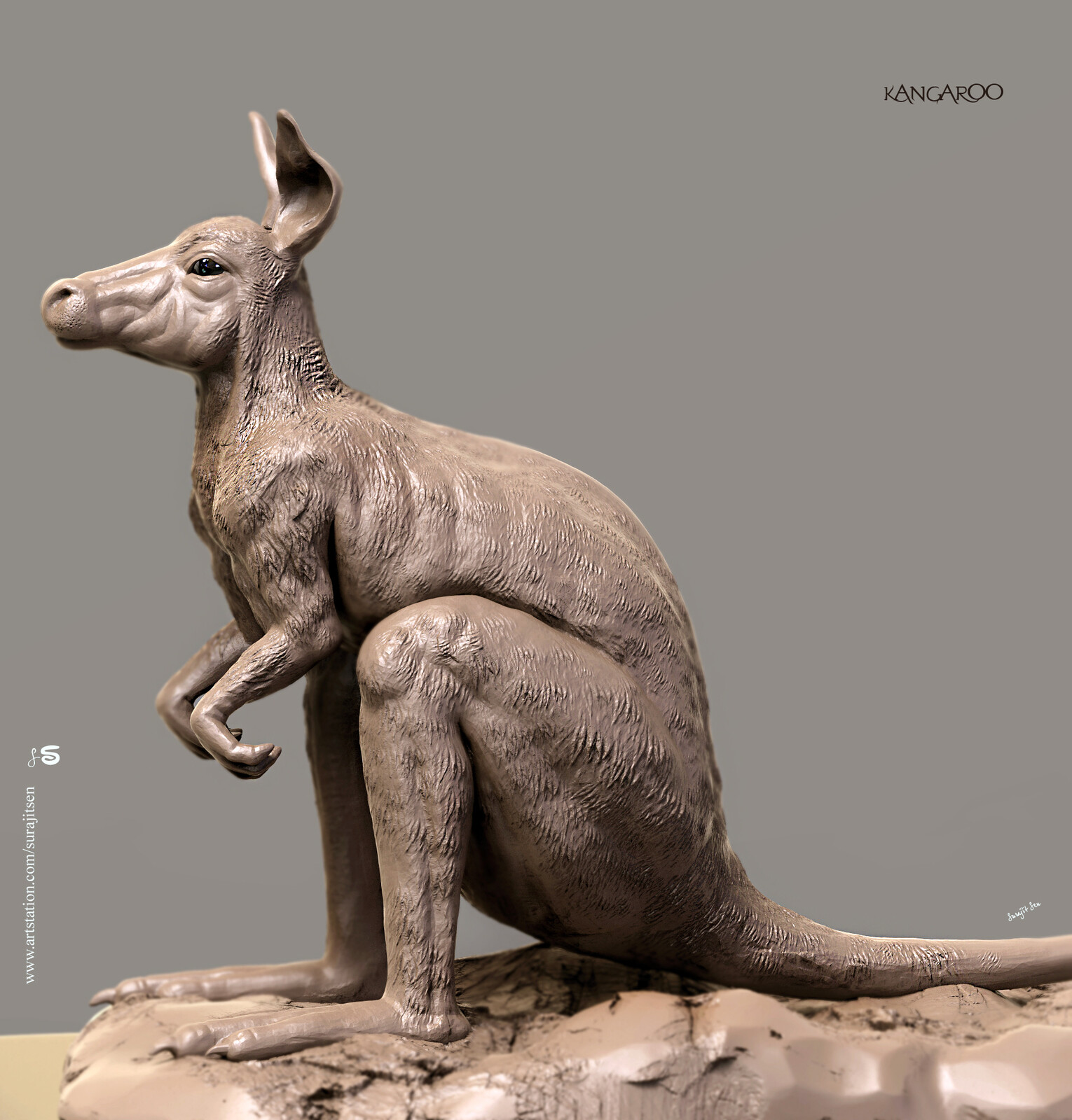 My free time quick Digital Sculpting study.... Kangaroo.  Played with brushes.  Background music- #hanszimmermusic