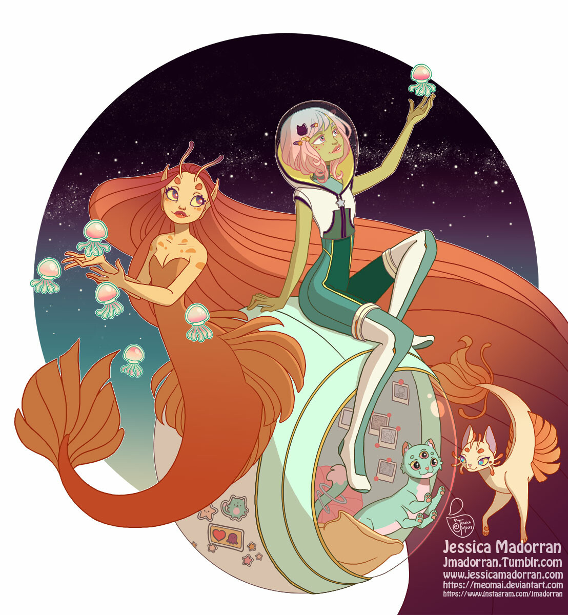 Jessica madorran character design space cat comic character illustration 2019 artstation01