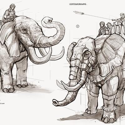 Dot line surface art studio elephant mock up 2