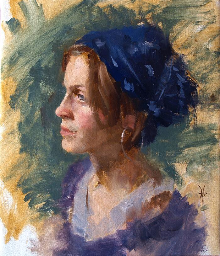 Jonathan hardesty marie in a blue scarf medium
