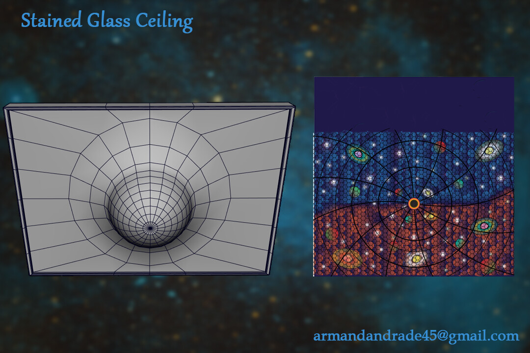 The stained glass ceiling is meant to both emulate the geometry of a black hole and illustrate what it is believed to be its role in the Universe.