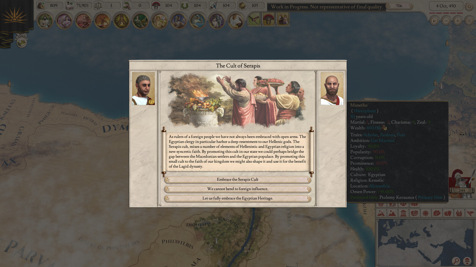 """Imperator: Rome Example of in-game look of """"Event"""" artwork"""