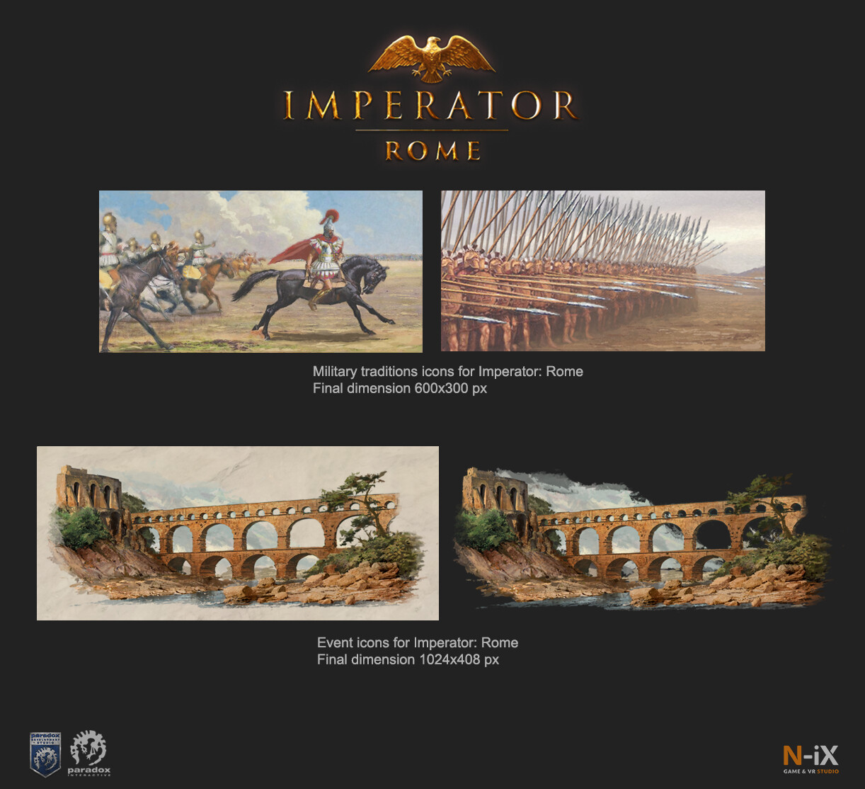 Imperator: Rome All artworks were performed as an imitation of murals on marble