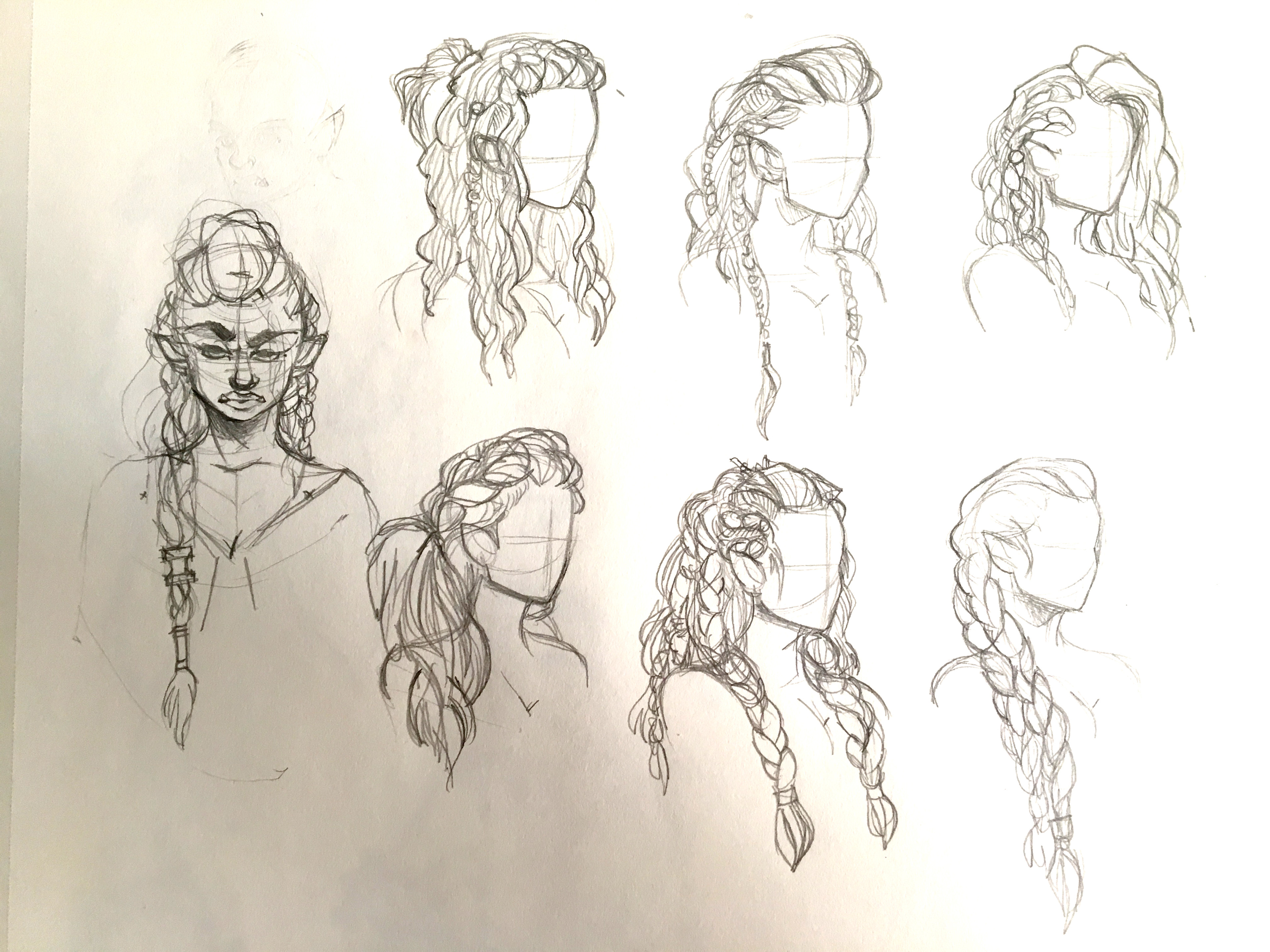 Hair sketches, from Viking and Celtic braiding studies.