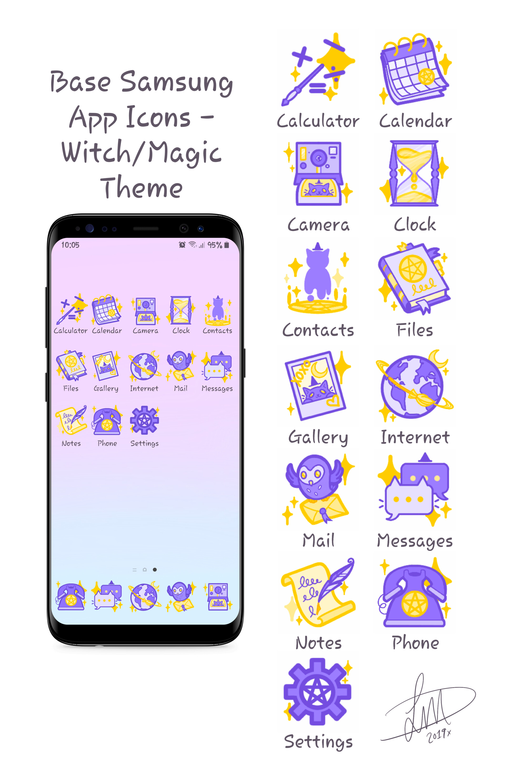 Artstation Samsung Galaxy Google Play App Icons Witch Magic Theme Lindsay Duthie