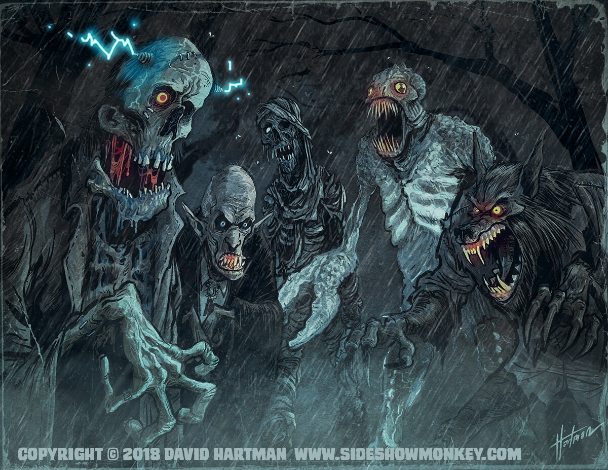 David hartman monsters in the rain by hartman by sideshowmonkey dd7nhga