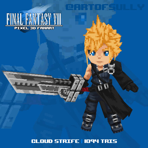 Cloud Strife ('Final Fantasy VII' lowpoly pixel fanart)
