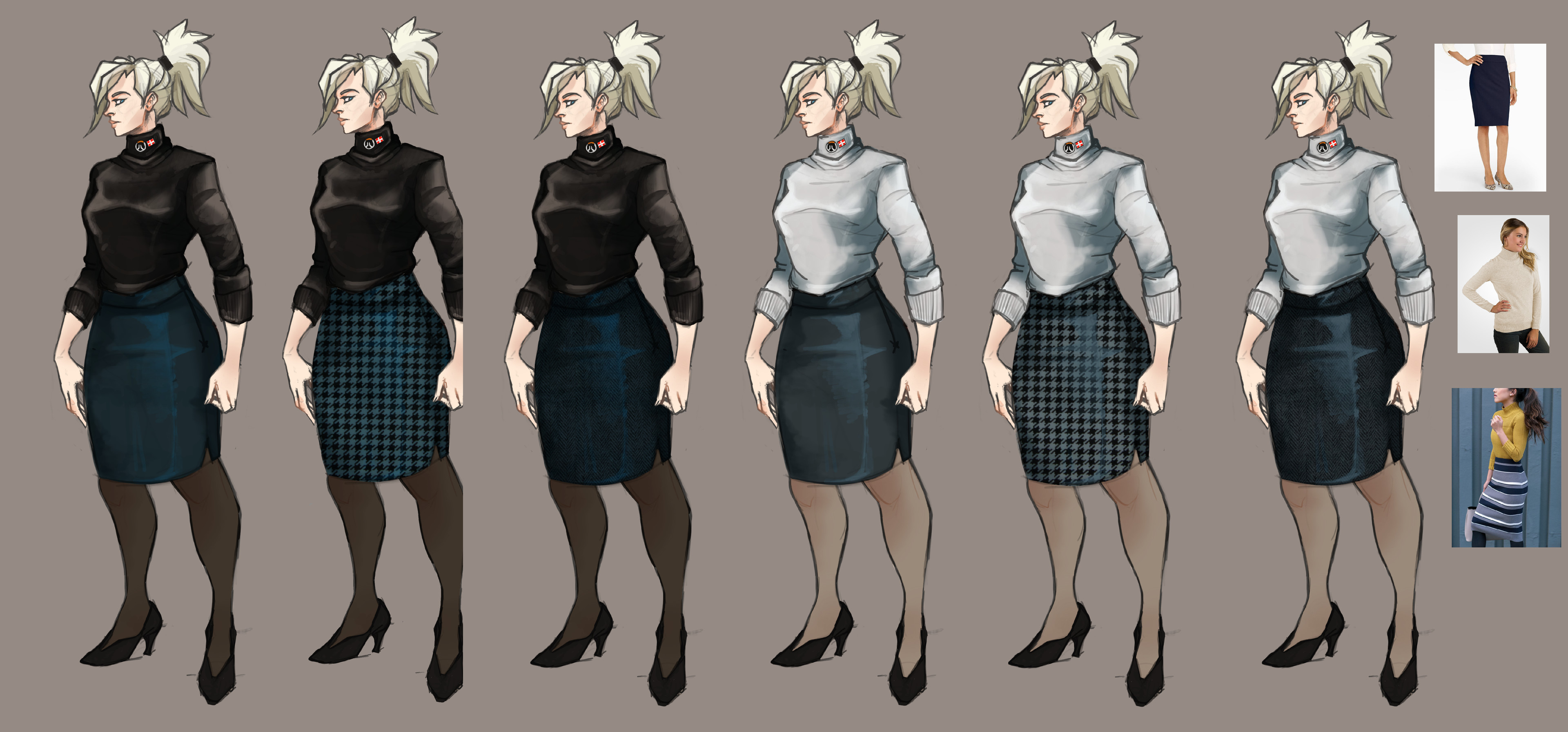 Ideations with research. I played with different textures, such as herringbone and houndstooth in her skirt.