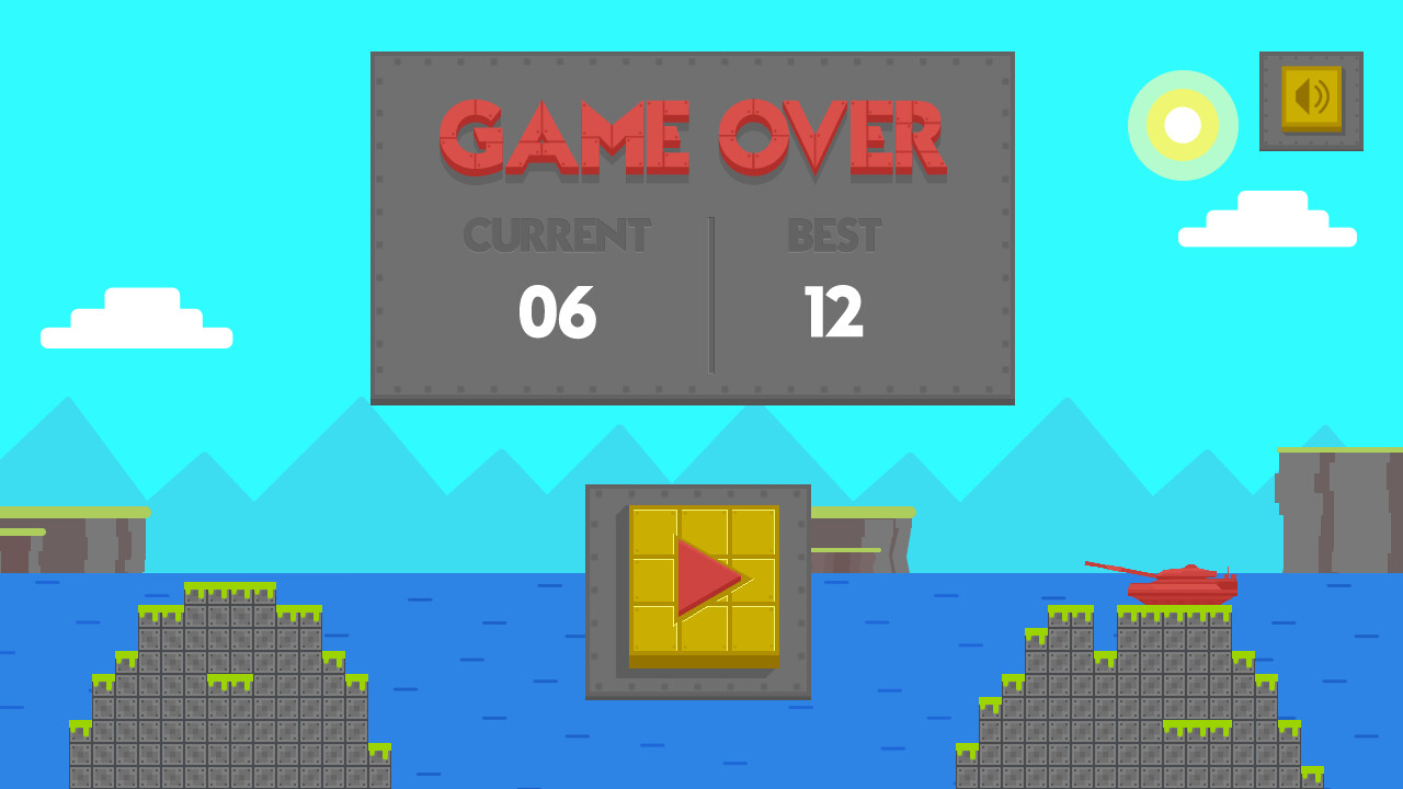 Game over screen, as one of the tanks is destroyed.
