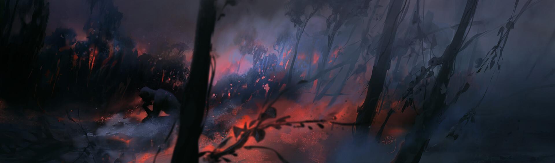 Iris muddy charred