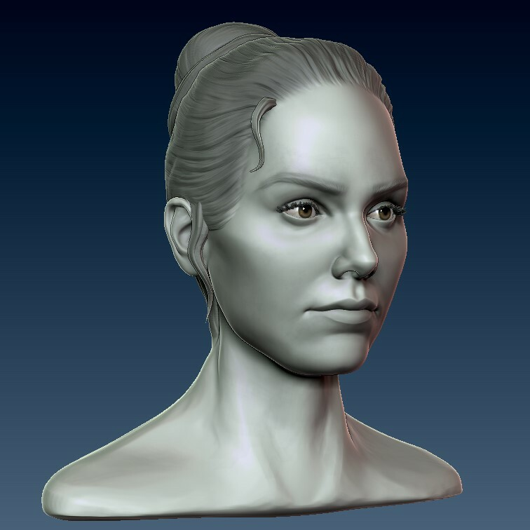 Daisy Ridley likeness sculpt WIP