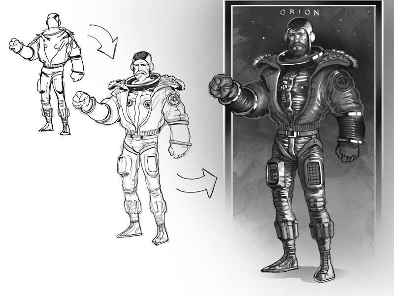 Concept Sketches of Captain Orion