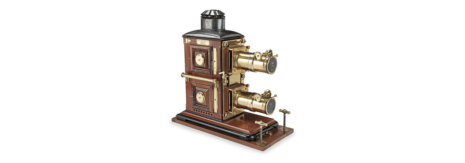 Reference - A fine Riley Brother Ltd bi-unial magic lantern, English, late 19th century,