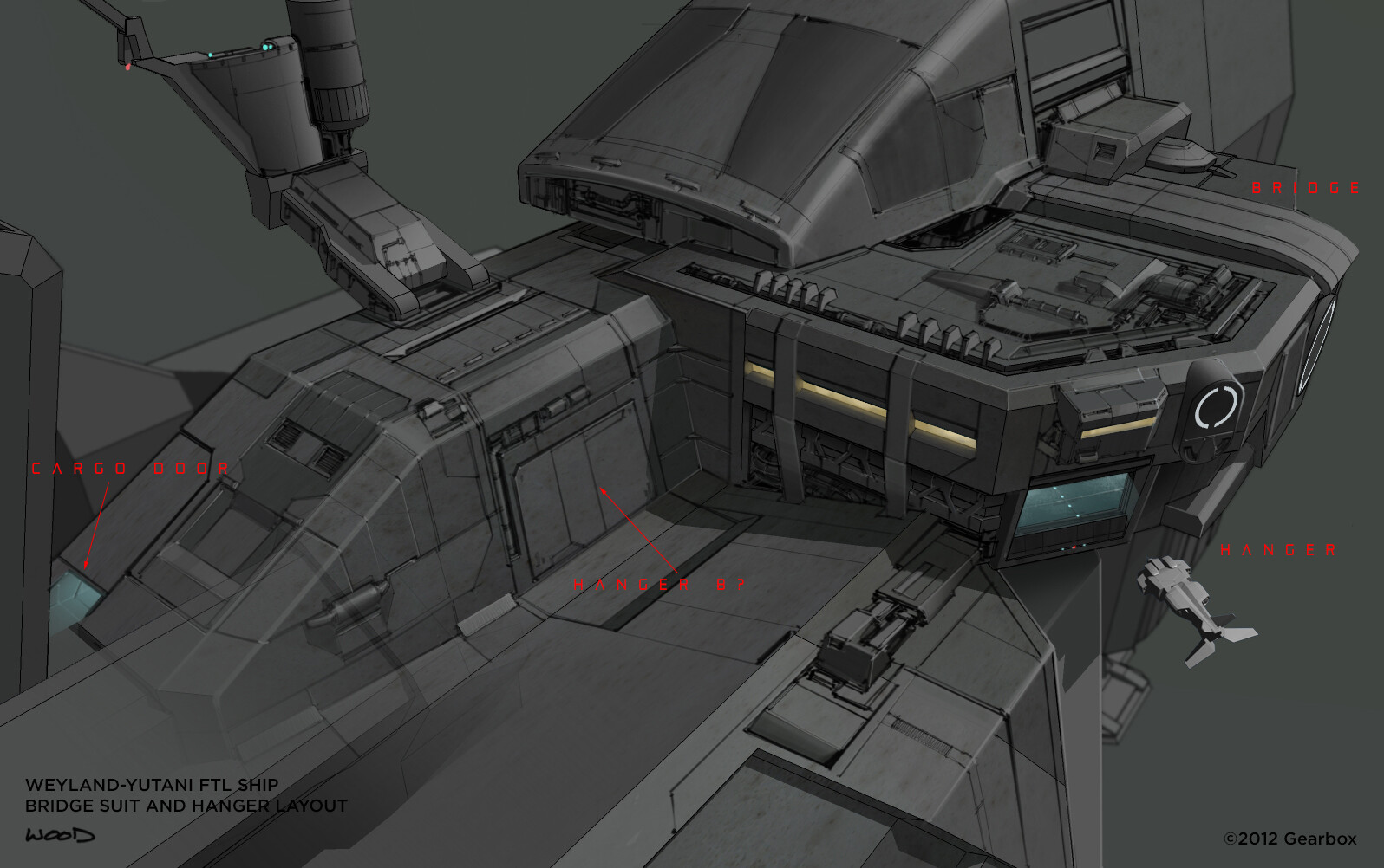 Detail of the bridge section of FTL ship