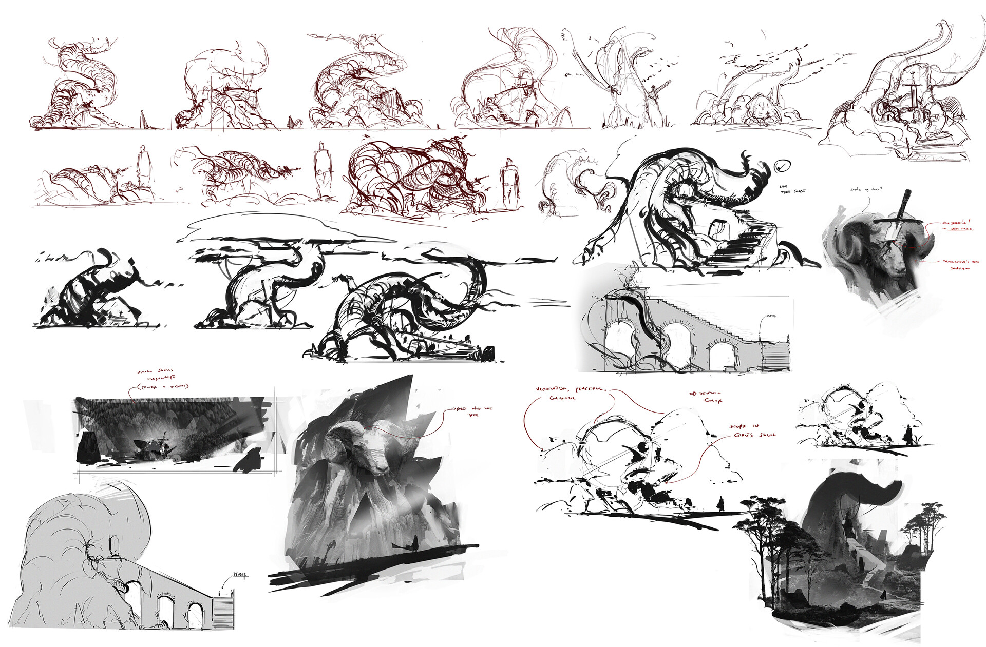 Exploration sketches for the scene itself.