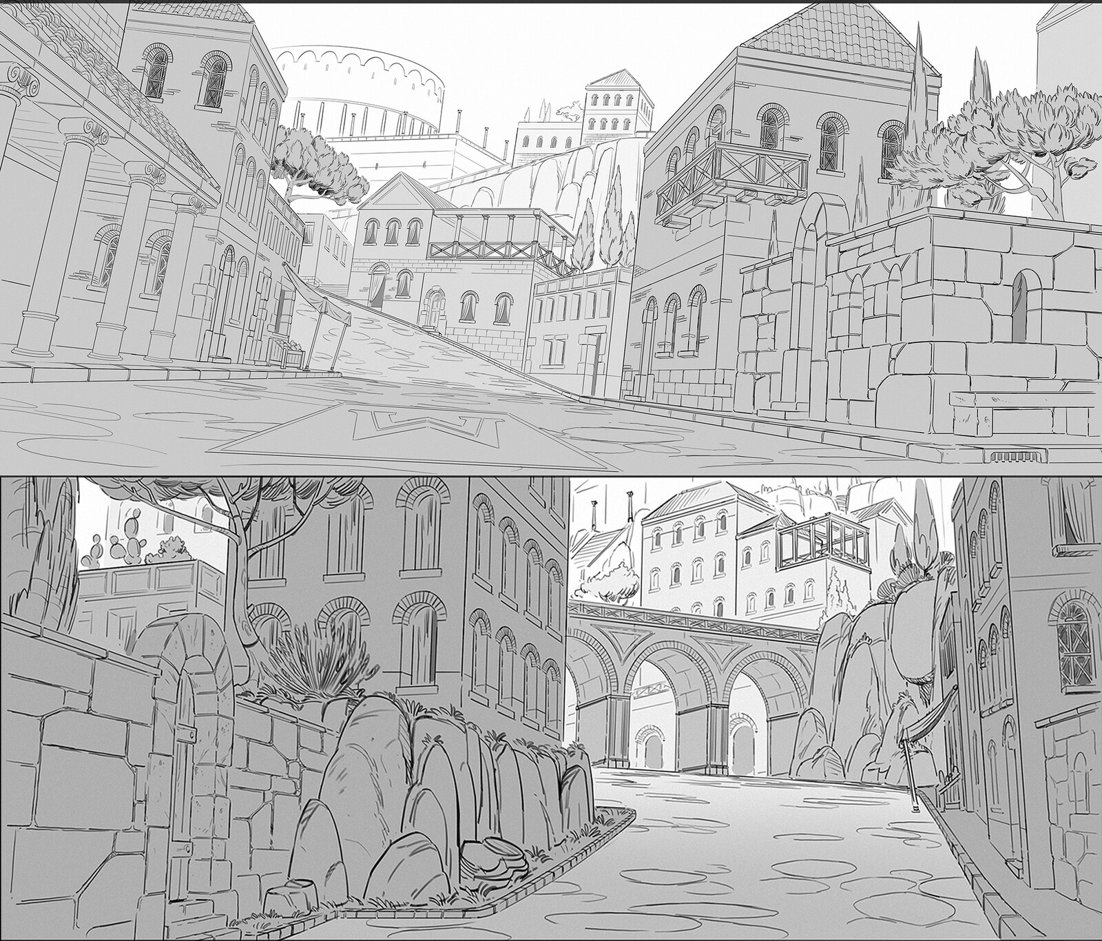 Layout based drawovers, to provide the set modeling team a precise reference for all the main shots.