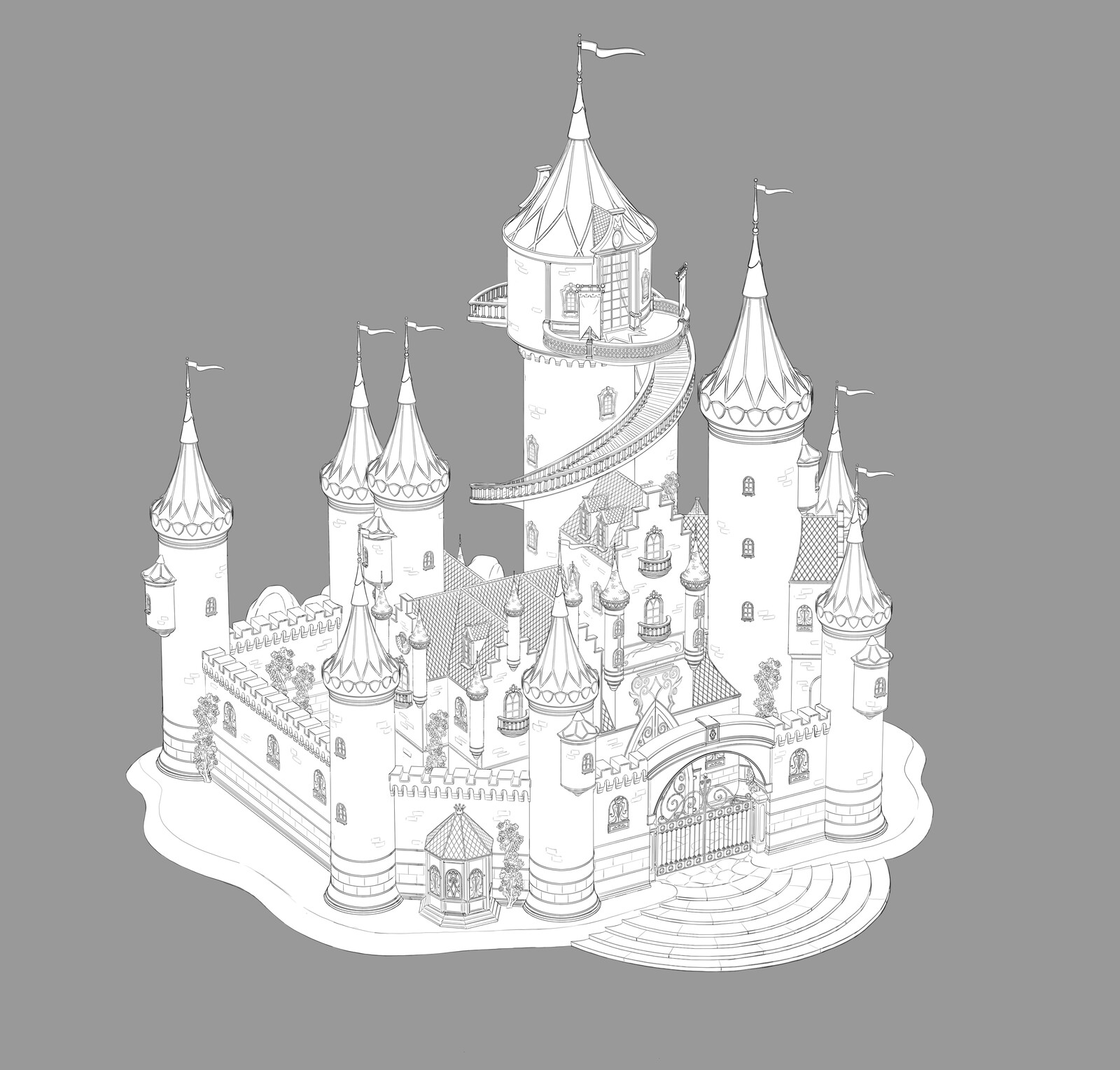 Final design for the Fairytale Castle, based on the existing toy-line.