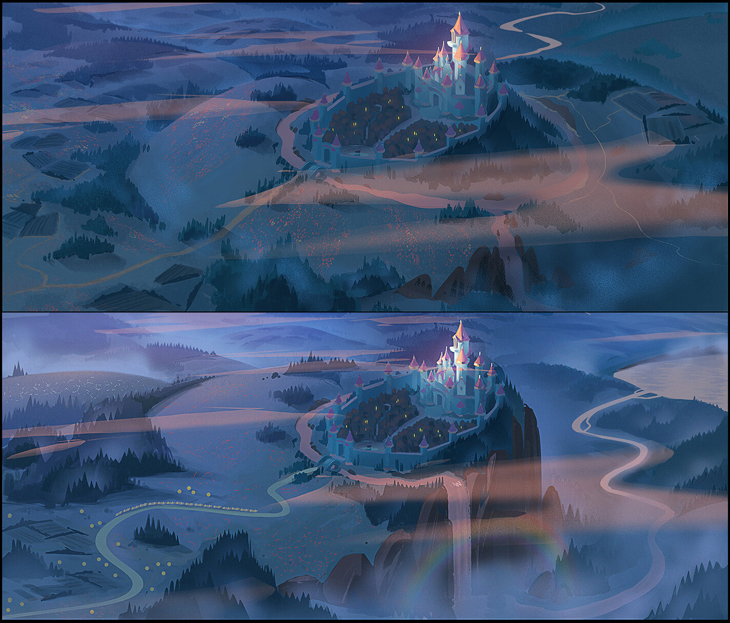 Color-script researches for one of the last sequence shot over Fairytale land.