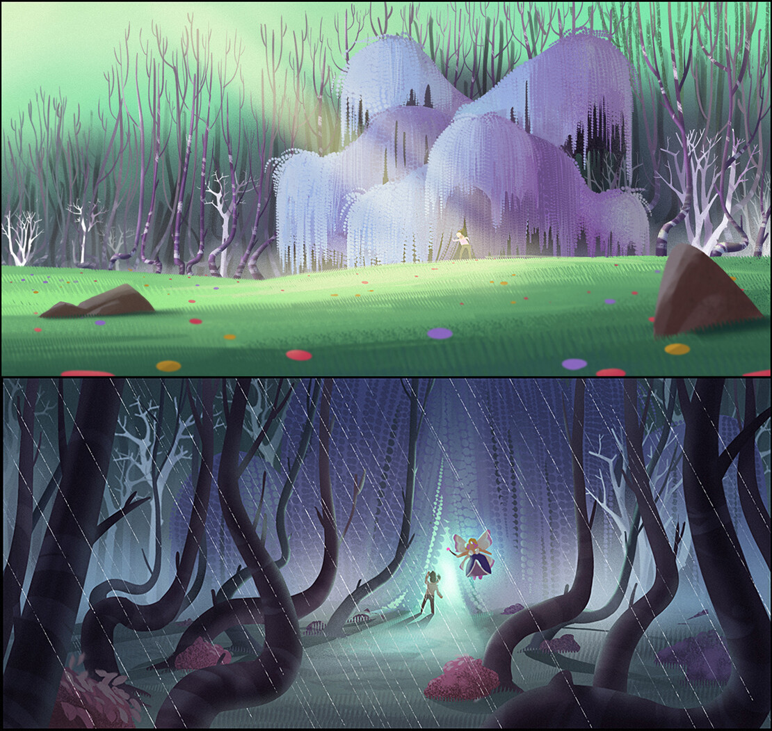 Color concept for the magic forest.