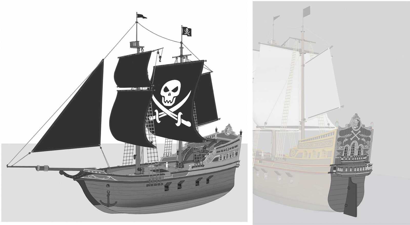 Design for the Pirate ship. I had to simplify it afterward to match more the existing toy design.