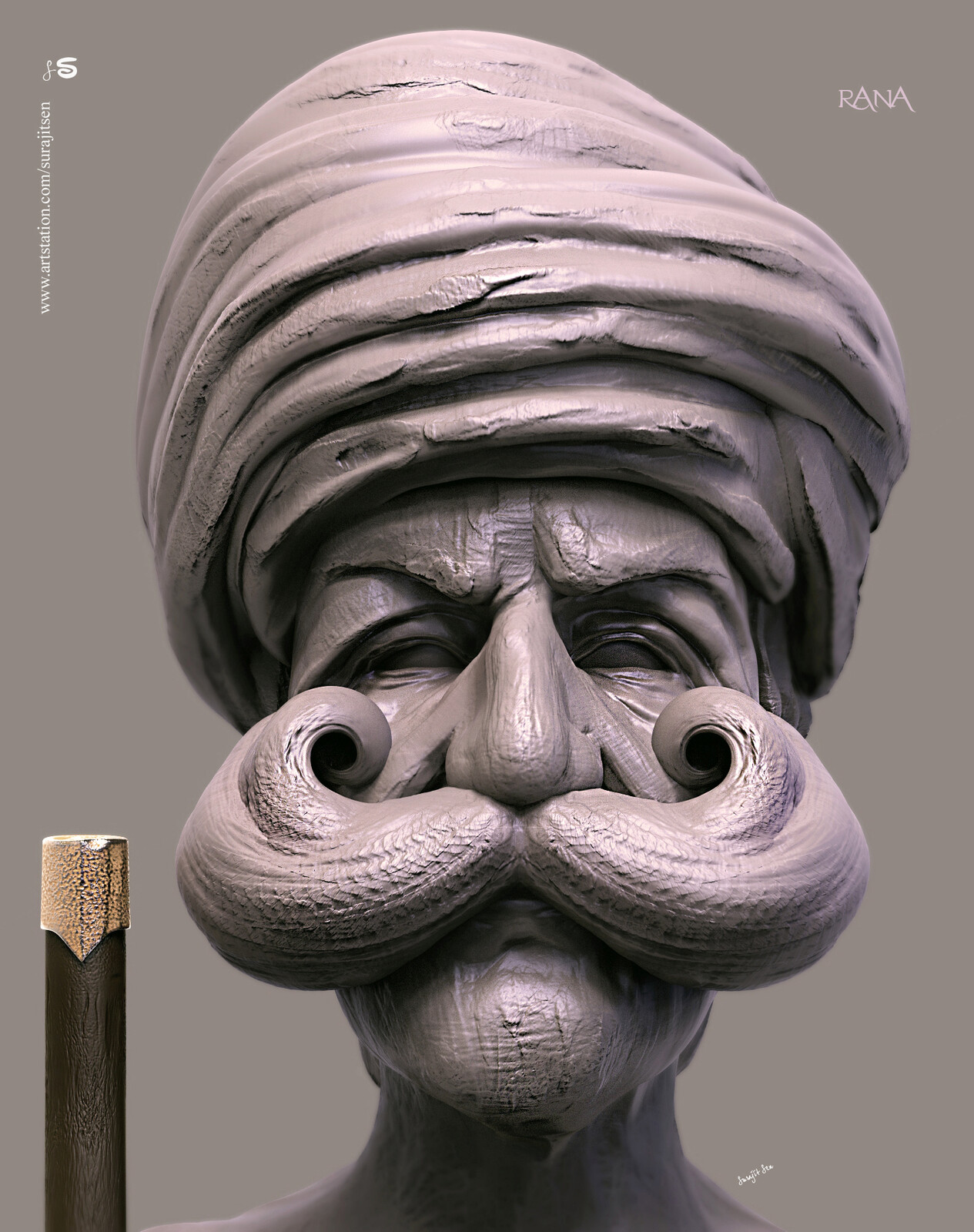 Rana.  Indian Man.  One of my free time speed Digital Sculpture. Played with brushes. Background music-#hanszimmermusic