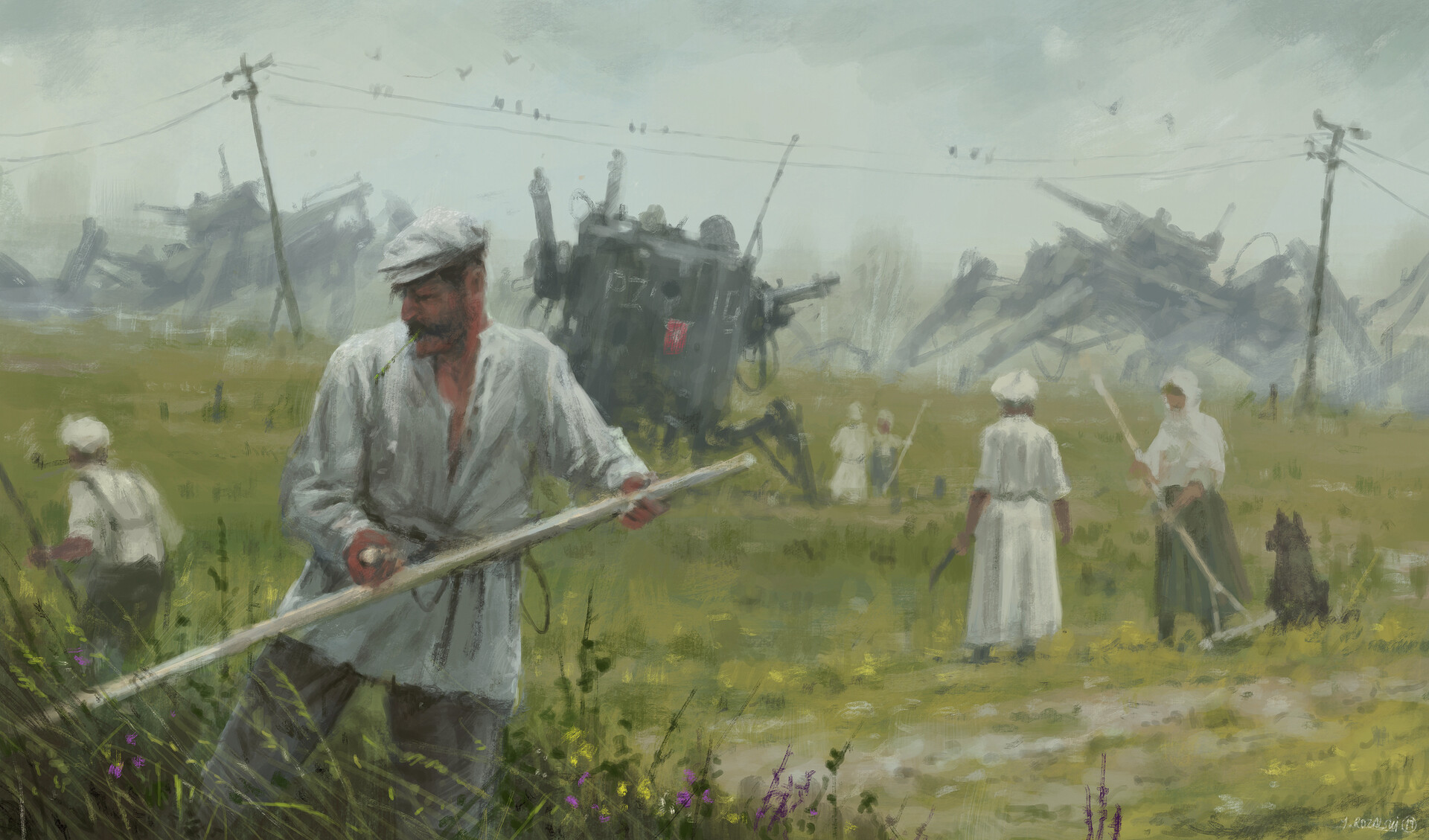 Jakub rozalski 1920 first harvest after war small