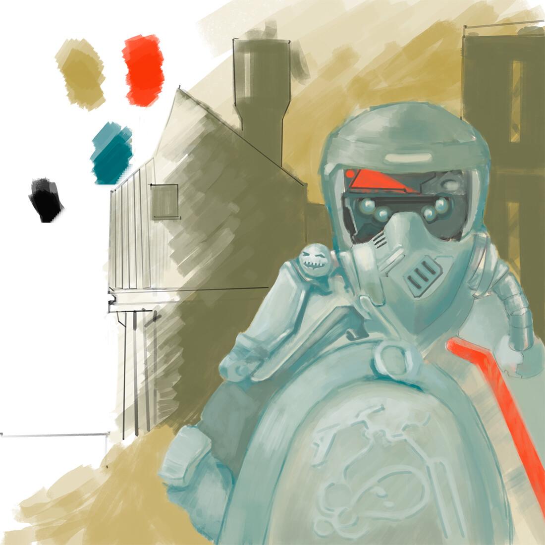 Shield shell concept art. digital 2D/Wacom Intuos S