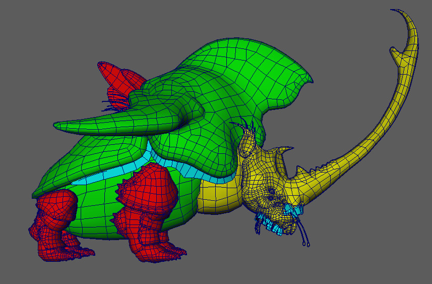 I retopologize, UV, and break up into material groups in Maya