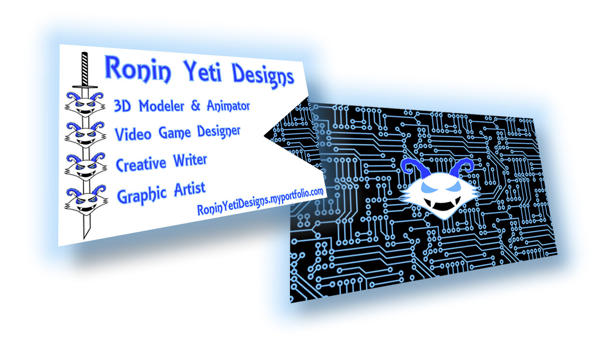 A presentational view of both sides of the business card