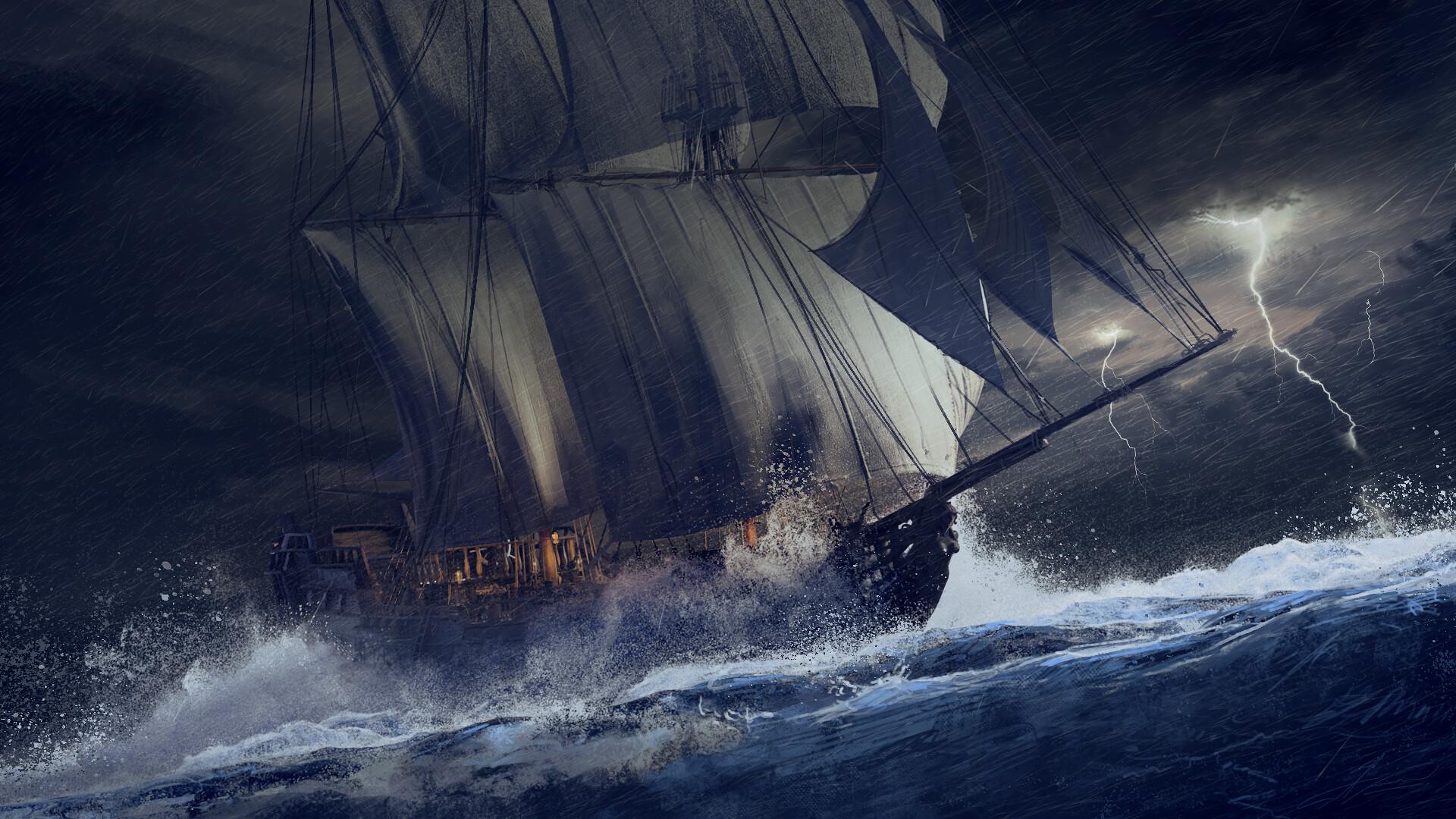 картинки пиратских парусников в шторм проволку клей