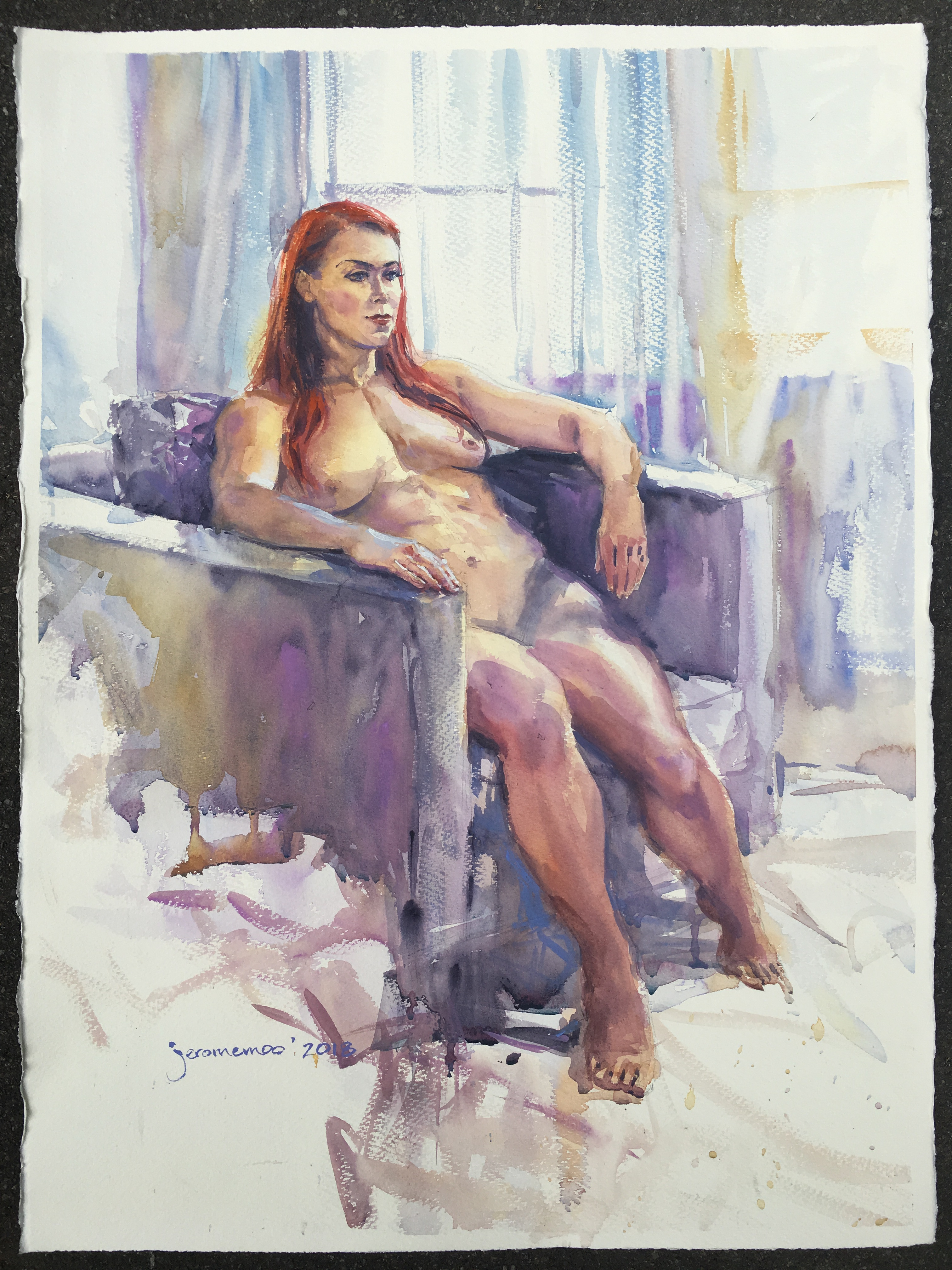 Long Pose Life Drawing of Emma.  Watercolour on 56x76cm 425gsm Rough Saunders Waterford Watercolour Paper