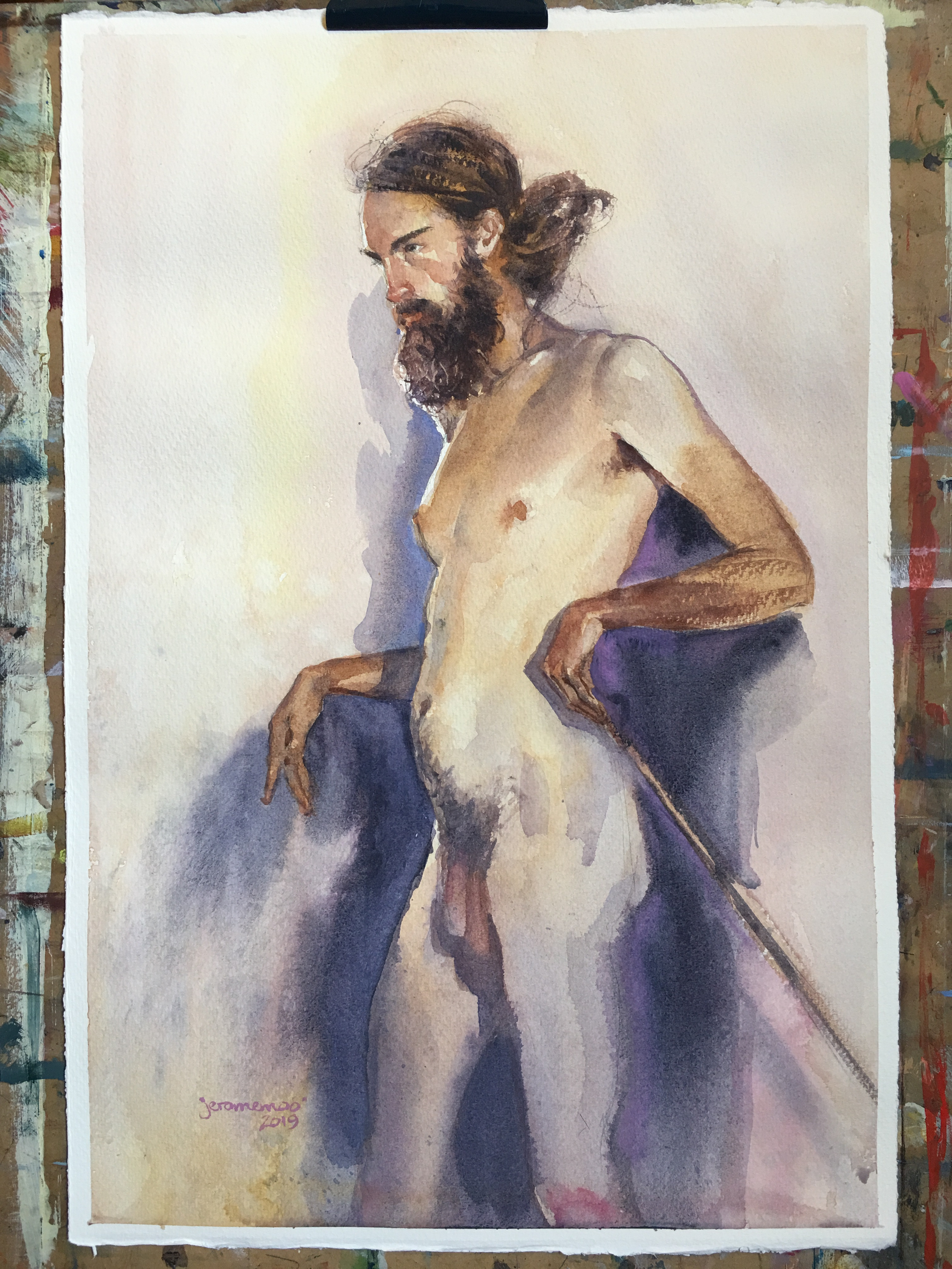 Long Pose Life Drawing of Jesse  Watercolour on 28x38cm 425gsm Rough Saunders Waterford Watercolour Paper