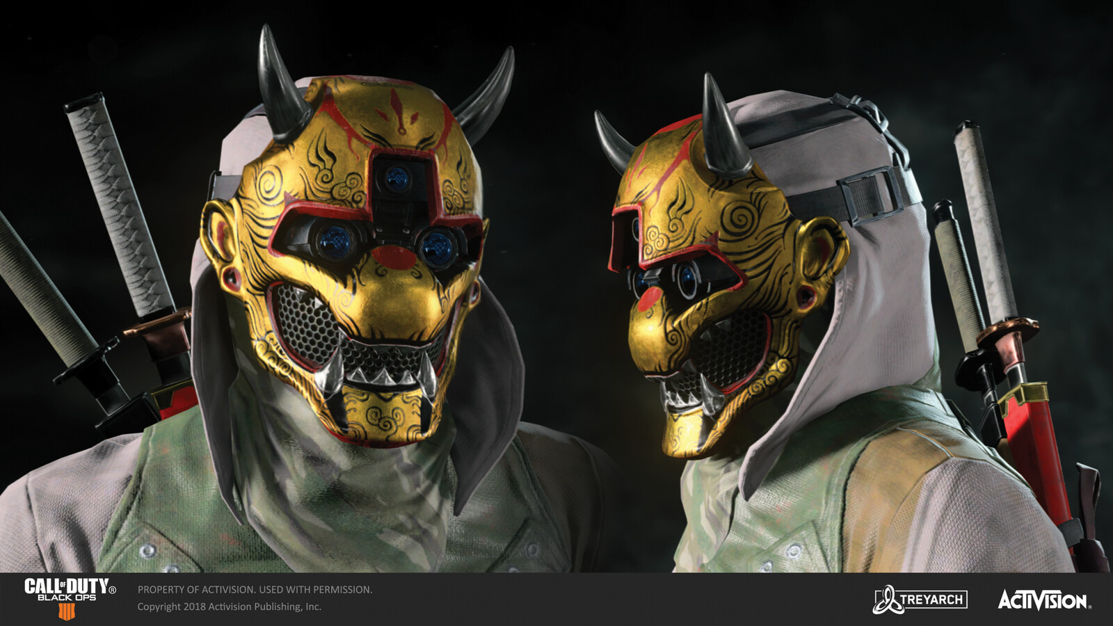 Responsible for texturing Spectre's golden mask variant (warpaint) for the 'Ninja' skin, released during the Operation Spectre Rising DLC. The mask and body models were made by our awesome external partners at RedHotCG.