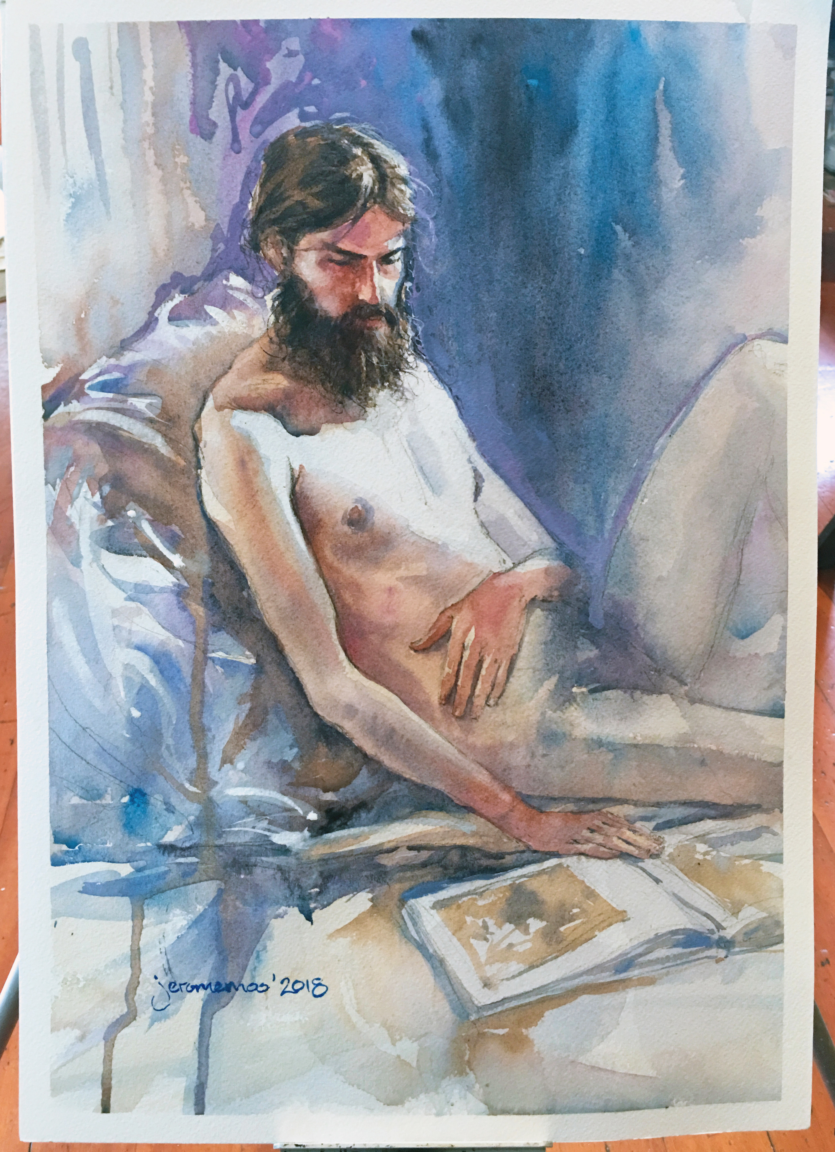 Long Pose Life Drawing of Jesse  Watercolour on A3 Medium 300gsm Arches Watercolour Paper