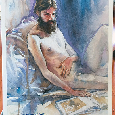 Long Pose Life Drawing Watercolour Painting of Jesse #1