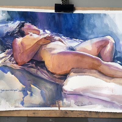 Long Pose Life Drawing Watercolour Painting of Marika #01