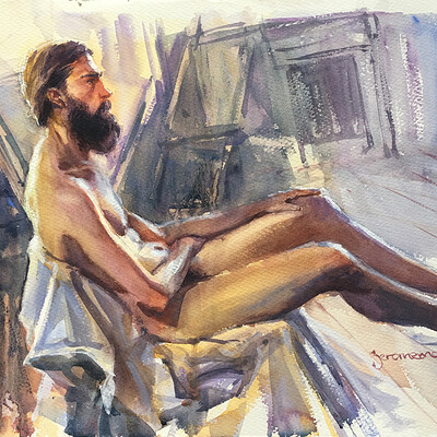 Long Pose Life Drawing Watercolour Painting of Jesse #2
