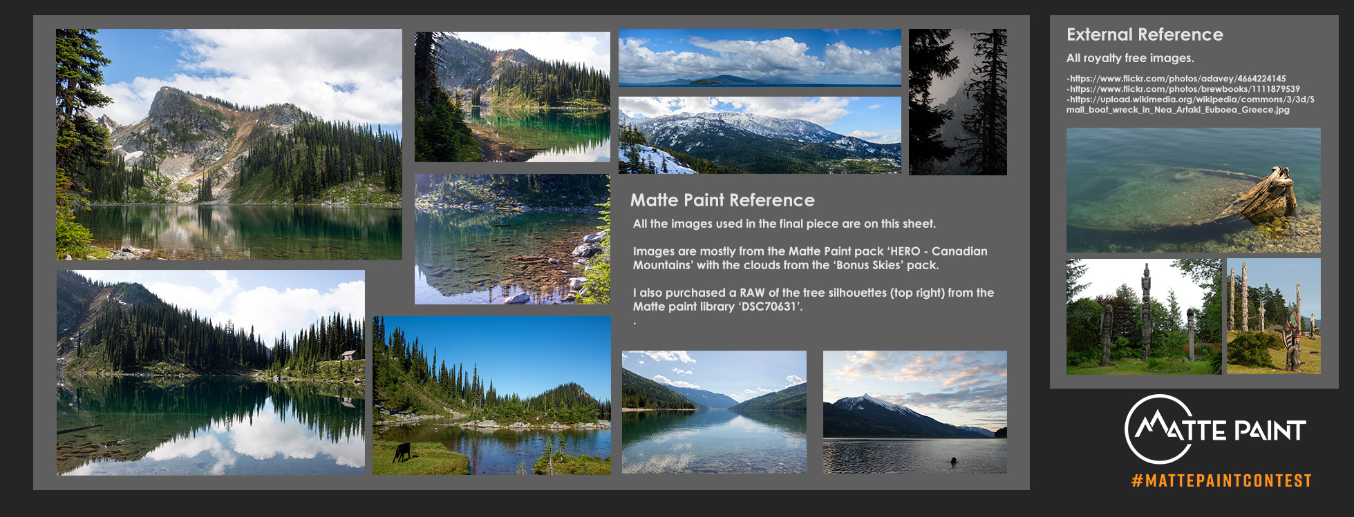 Contact sheet of all the images used.