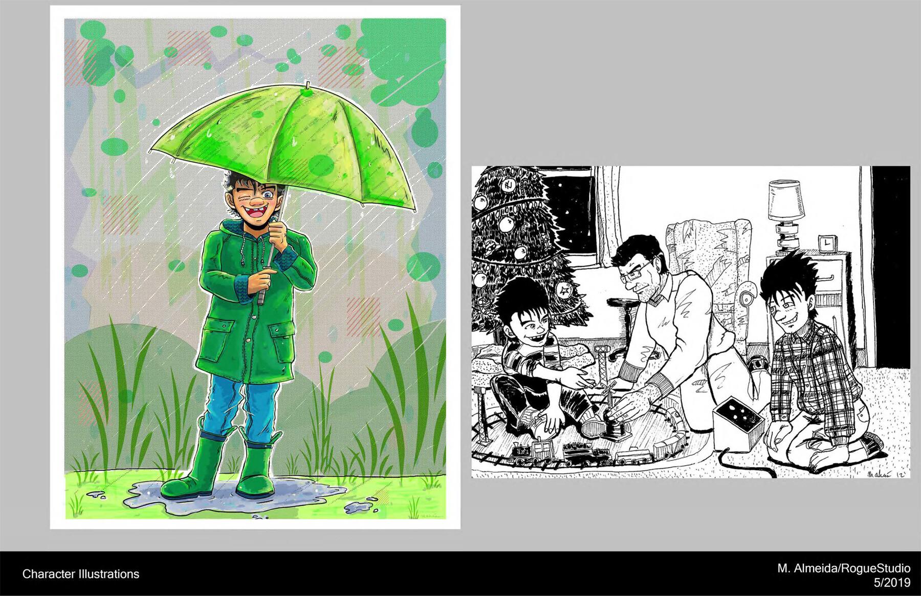 Character illustrations. Medium- Photoshop (Left), Ink (right)