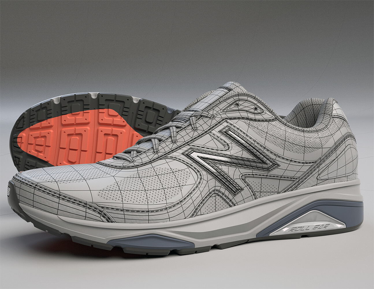 Wire-frame of the New Balance 1540v3 Shoe.  Made in Modo, is all quads and was rendered in Modo.