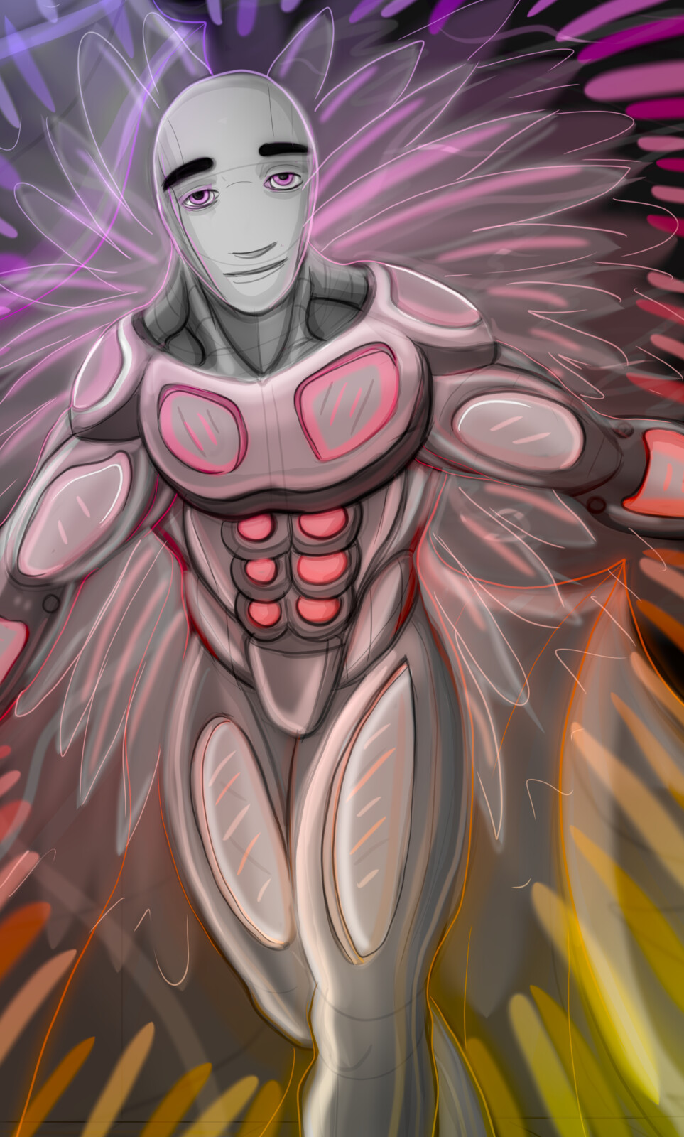 Psychedelic technoid angel