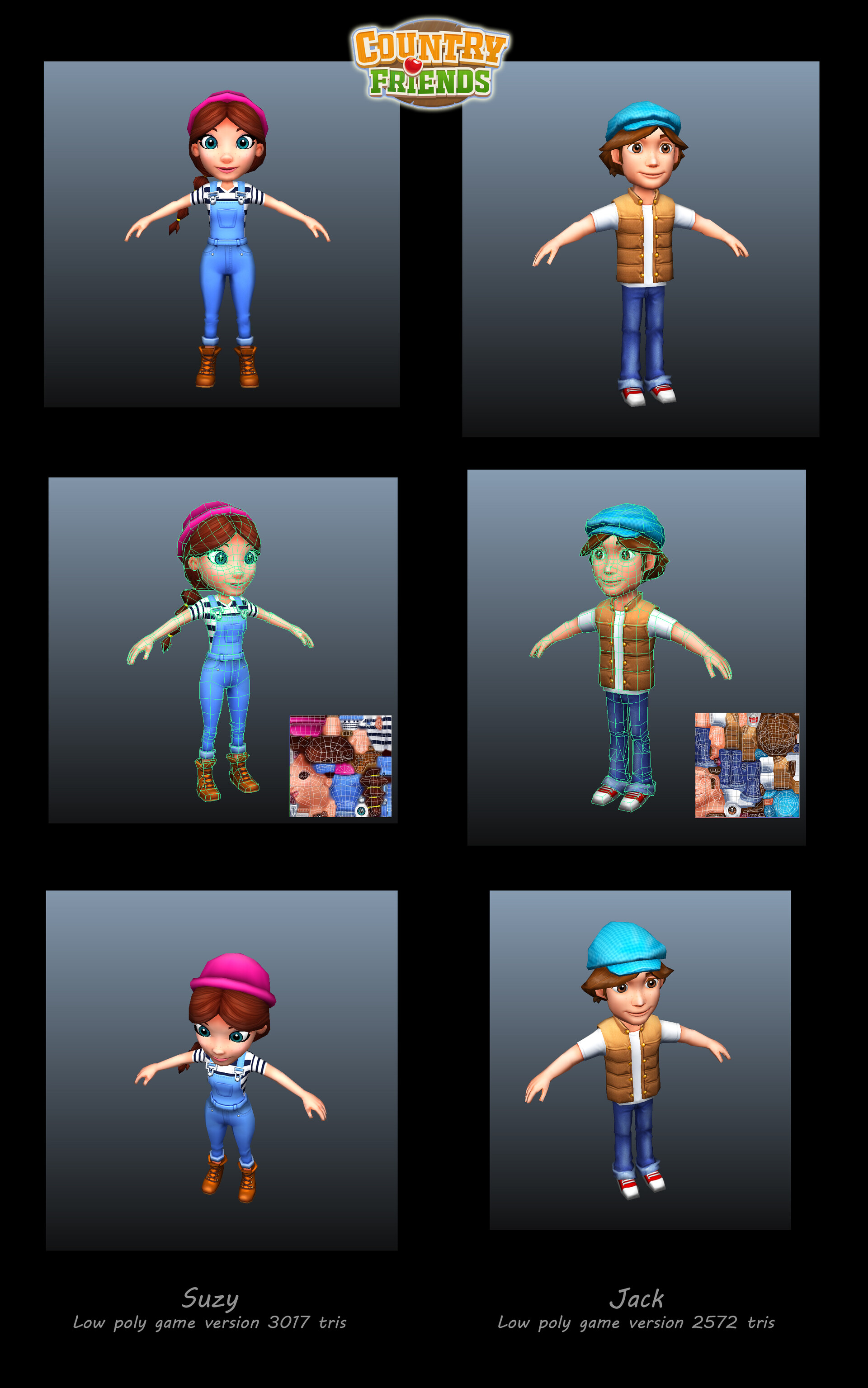 Suzy and Jack low poly game meshes.
