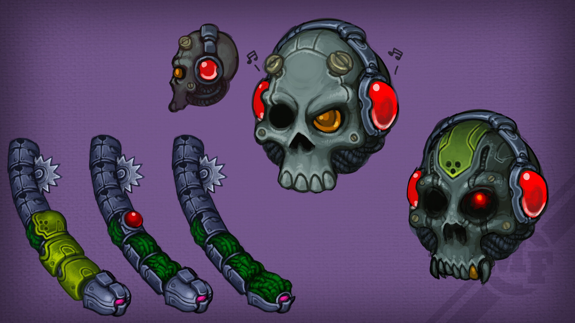 Skull Boss with worms