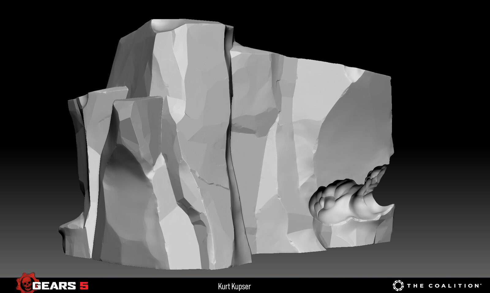 High poly sculpt I made to set the visual target for the cliff ice kit.