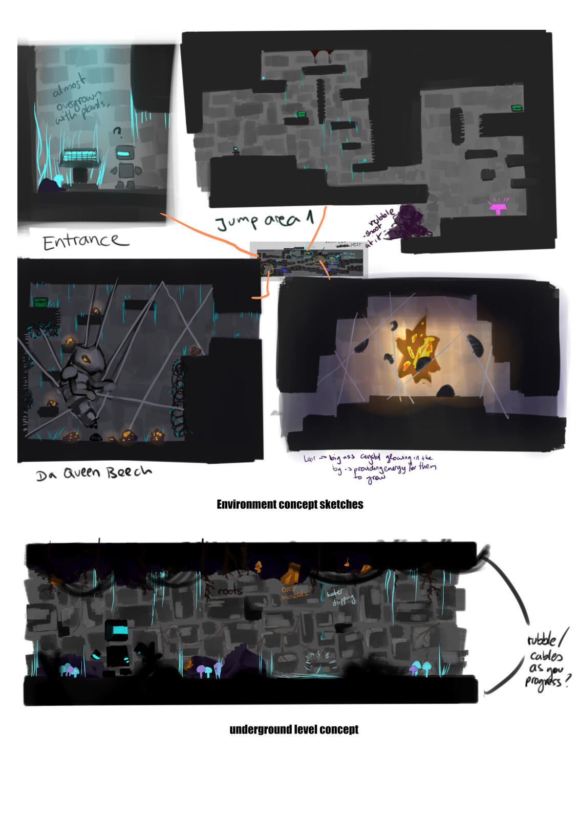 Underground Level Concepts for locations and platforming areas