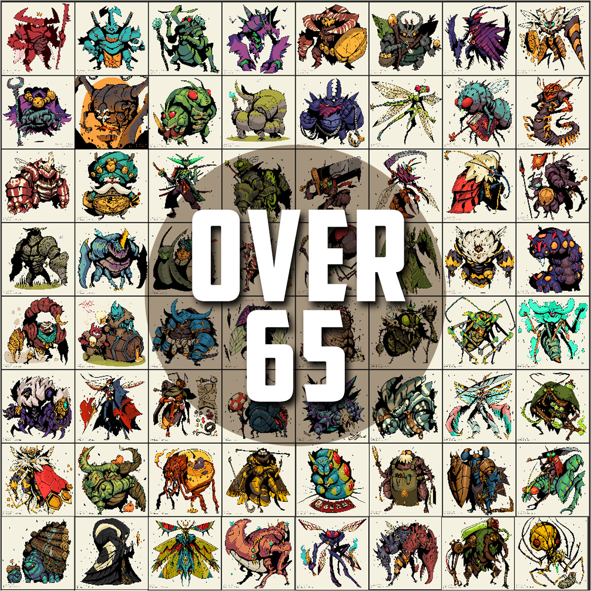 Over 65 different designs, with their own backstory - aiming for 100+