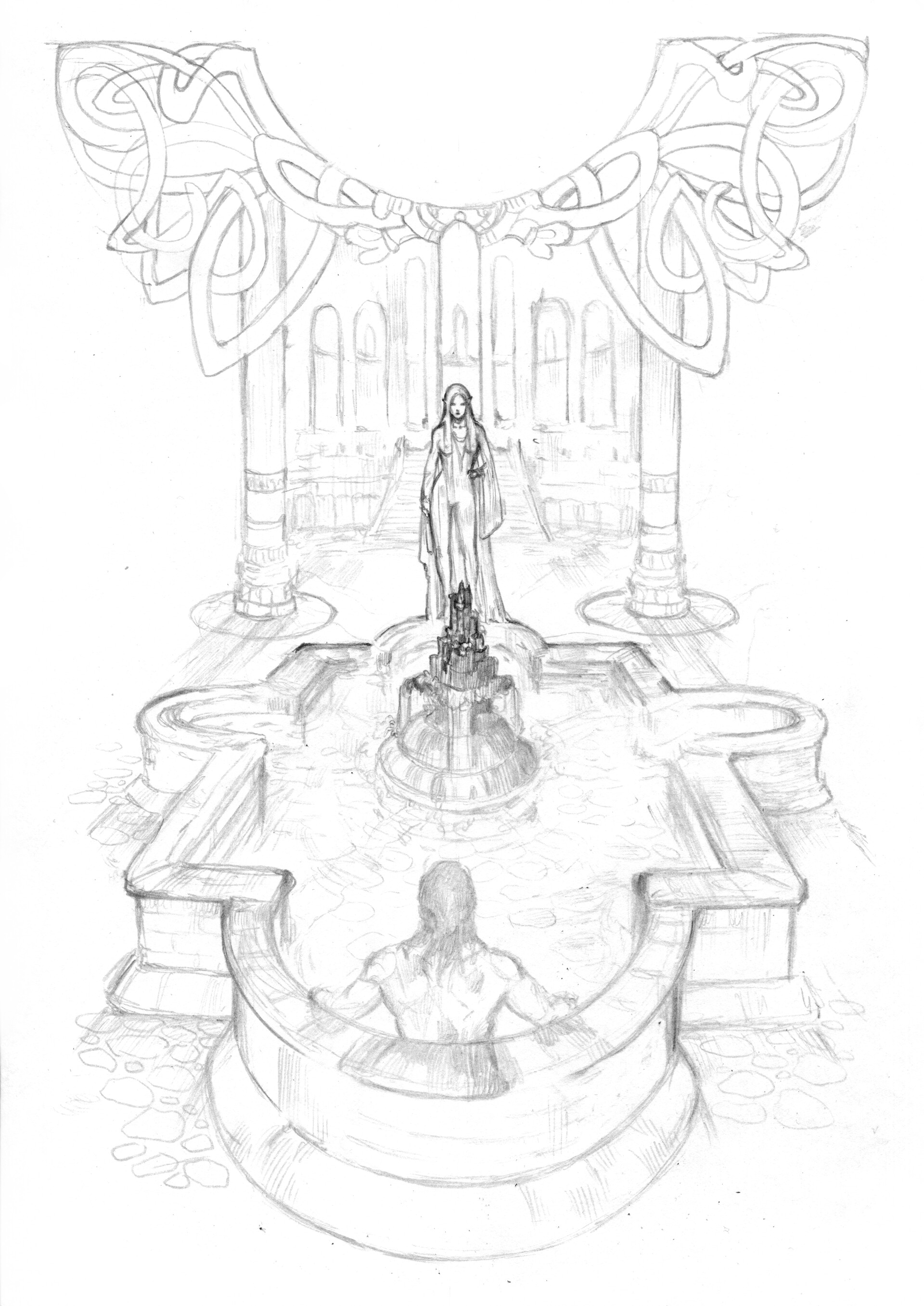 """Sketch of """"Beorn and Pardona at the well"""""""